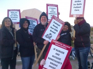 Nurses on strike at Barstow Community Hospital