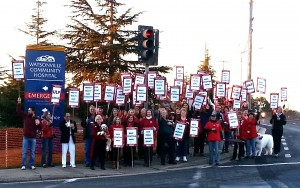 Nurses on strike at Watsonville Community Hospital in Watsonville, California