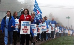 Baystate Franklin Medical Center nurses on strike in October 2012
