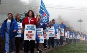 Baystate Franklin Medical Center nurses on strike in October 2012